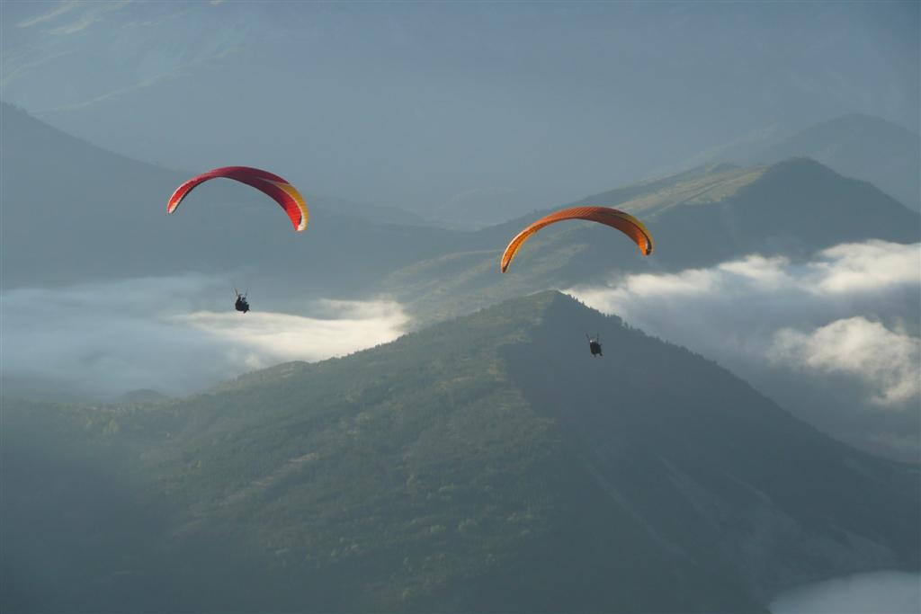 Vol du matin, en stage initiation parapente