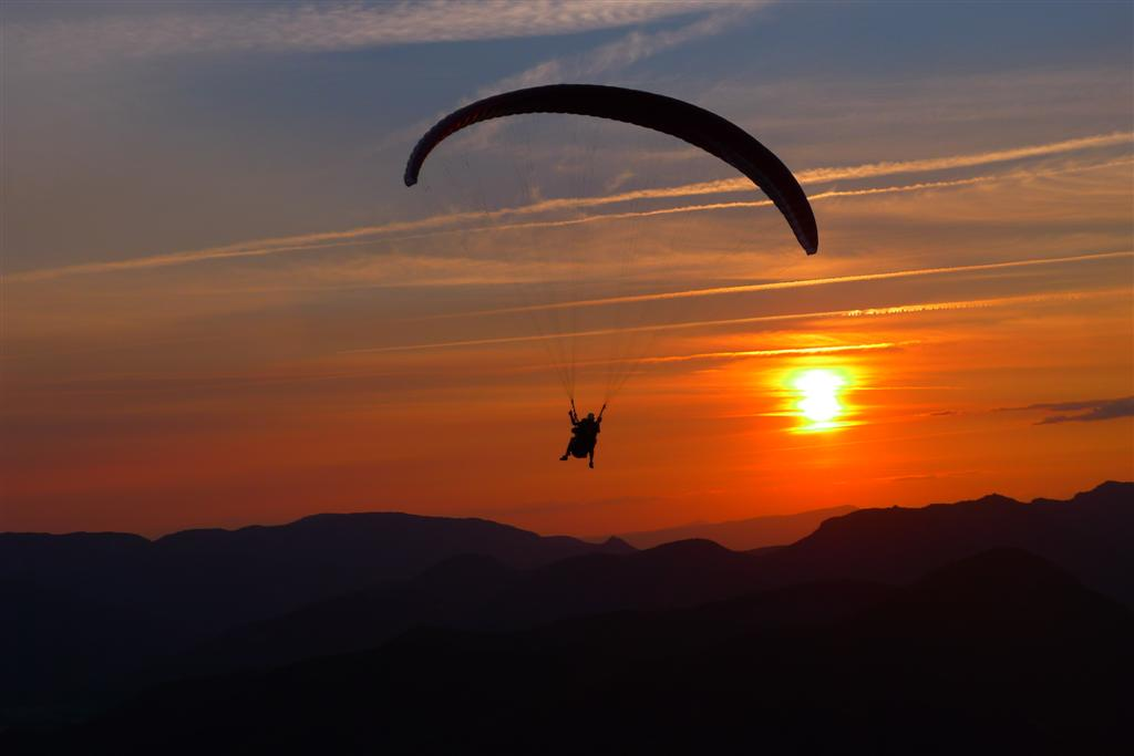 Vol du soir en stage initiation parapente